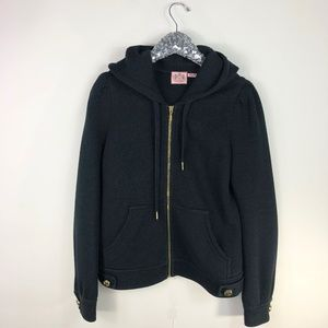 Juicy Couture Black Quilted Zip Up Gold SZ Large